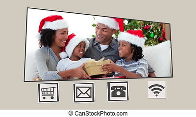 Animated interface about family during Christmas