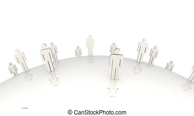3d men standing on a moving globe against a white background
