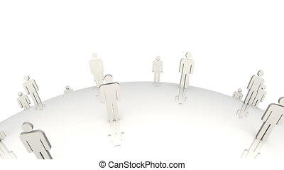3d men standing on a globe in movem