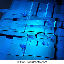 Nanotechnology concept - Transparent blue levels and spheres...