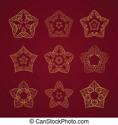 Orient star set - Vector set of nine ornamented orient stars...