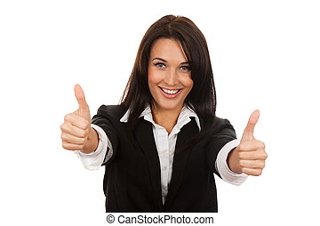 Businesswoman - Happy smiling business woman with thumbs up...