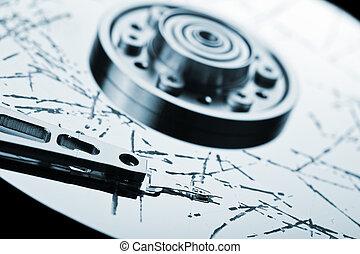 Broken hdd data loss - Information storage data loss concept...