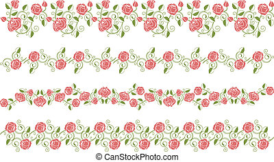 Set of roses borders