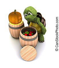 tortoise bobbing for apples - 3d render of a tortoise...