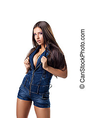 Sexy girl posing in jeans costume isolated
