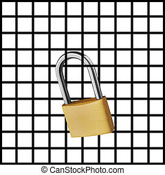 Gridlock as half illustration of grid and half photo of lock...