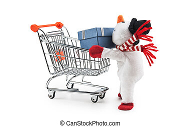 toy snowman and shopping cart isolated on white background