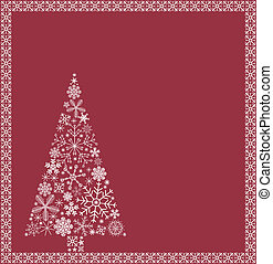 Christmas tree and border from snowflakes