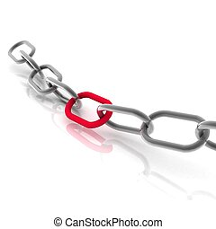 3d chain chrome red steel