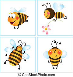 Four funny bees - Funny bee and flower in frame Cartoon...