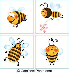 cztery, zabawny, pszczoły