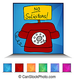 No Solicitors Telephone Mosaic Crystal Button Set - An image...