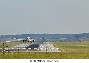 Landing plane - A plane landing at the airport of Vienna
