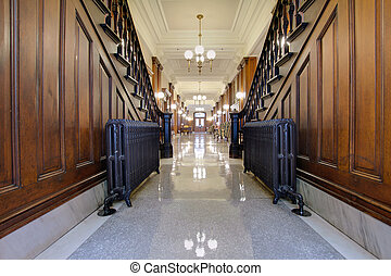 Hallway with Antique Radiator in Pioneer Courthouse -...