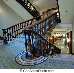 Old Staircase in Pioneer Courthouse - Old Staircase in...