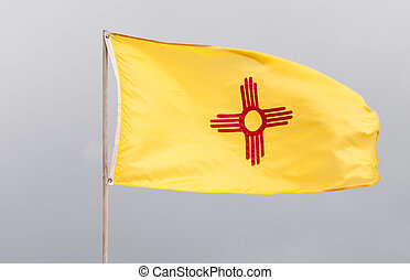 New Mexico Flag in Wind