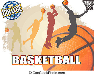 Basketball poster background, vector illustration