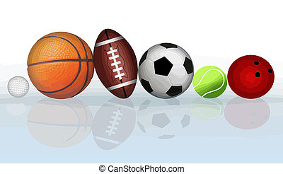 Sports balls - Group of sports balls with reflection, vector...