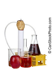 Food Analysis - Peeled red apple with tubes leading to...
