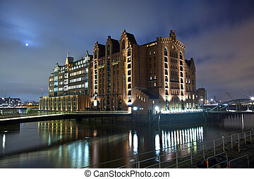 Speicherstadt at night in Hamburg - historic Speicherstadt...