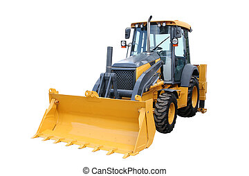 Yellow tractor with a ladle separately on a white background
