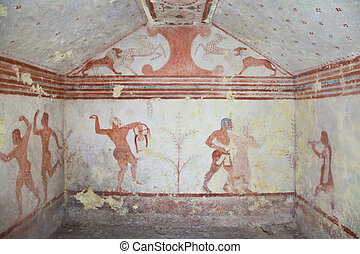 Etruscan tomb - Tarquinia, Italy, around 470 BC Via a narrow...