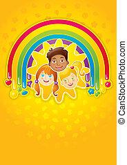 Three happy children in a rainbow