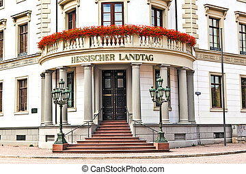 Hessischer Landtag in Wiesbaden - house of politics, the...