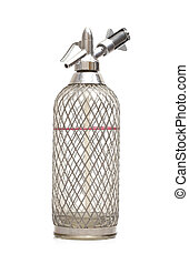 Old siphon bottle from the 1970's isolated on white...