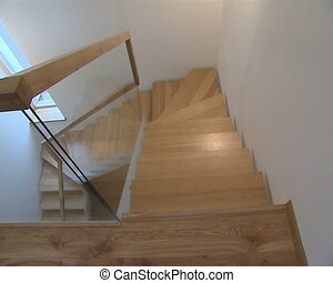 Wooden stairs with protective glass