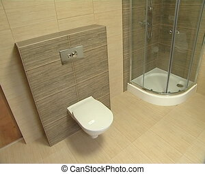 Bathroom in a modern new apartment WC, shower and bath