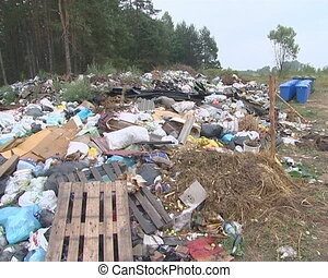 Huge heap of garbage near forest