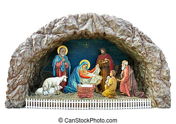 Nativity scene - a traditional ukrainian Christmas model of...