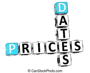 3D Prices Dates Crossword  on white background