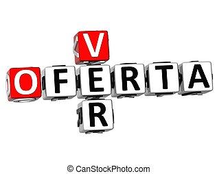 3D Ver Oferta Crossword on white background
