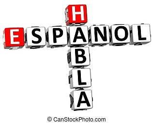 3D Habla Espanol Crossword on white background