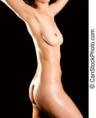 Closeup of a nude female body