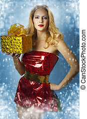 Sexy female model santa claus - Fashion portrait of...