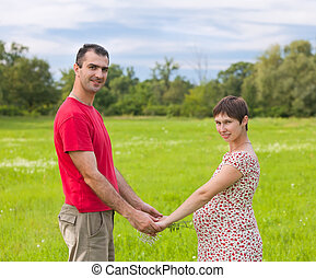 Husband with his pregnant wife