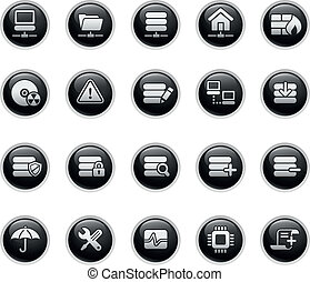 Network, Server and Hosting - Vector buttons