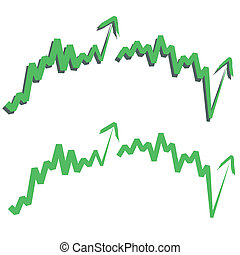 stock index, upward. - stocks index upward arrow, indicate...