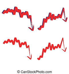stock index, downward. - stocks index downward arrow,...