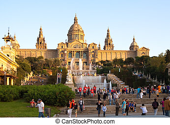 People before  National Palau of Montjuic