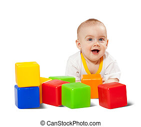 Happy baby plays with toy blocks - Happy baby plays with toy...
