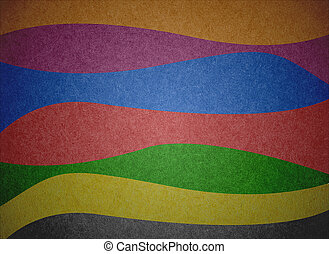 Grunge multicolored stripes recycled paper craft background.