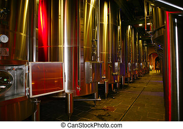 Modern stainless steel fermenting tanks for wine making