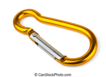 Carabiner - Single golden aluminium carabiner isolated on...