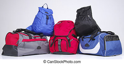 Set of modern backpacks
