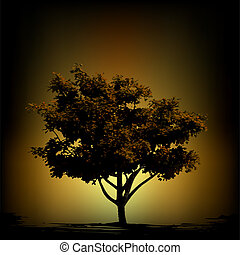 Vector tree silhouette on vintage background